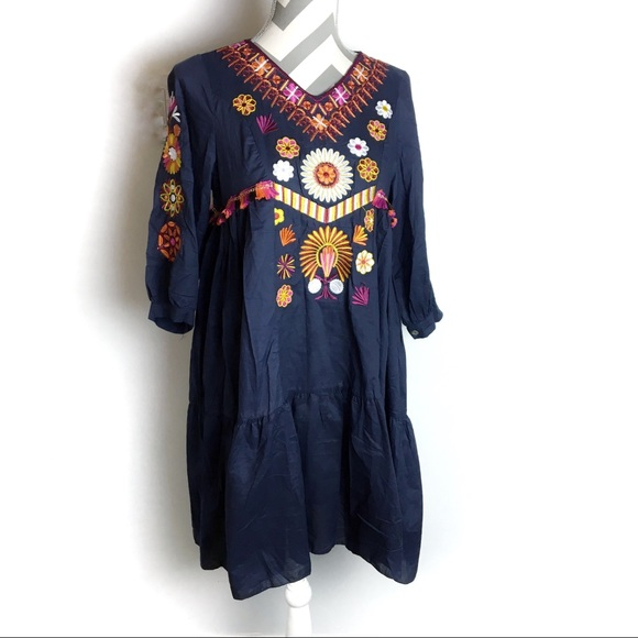 imported Dresses & Skirts - Navy Embroidered dress with tassels   Small